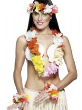 Multi- Coloured Hawaiian Flower Lei Set